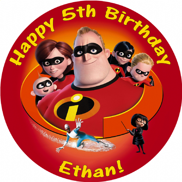 THE INCREDIBLES EDIBLE ROUND BIRTHDAY CAKE PERSONALISED DECORATION